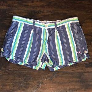 VS Pink Striped Cuffed Blue Shorts 10